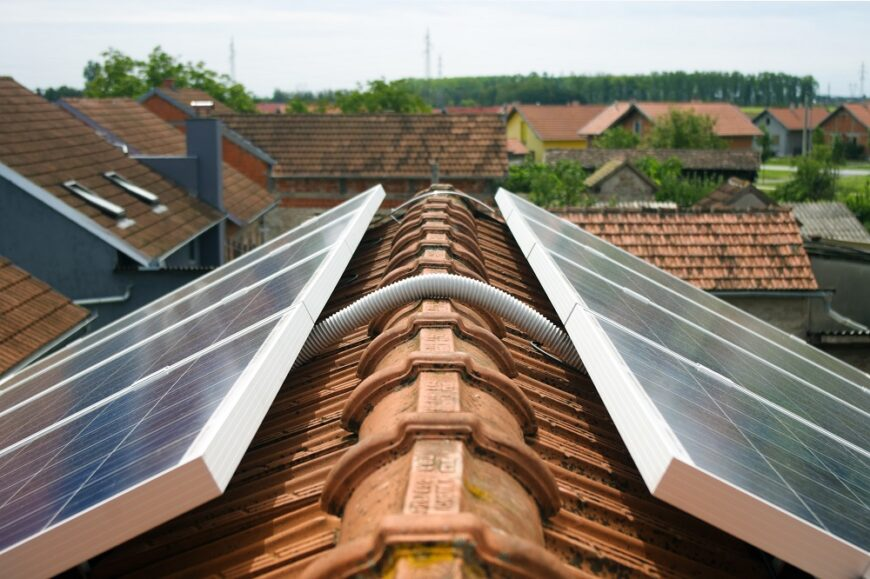 Solar panel on the roof detail